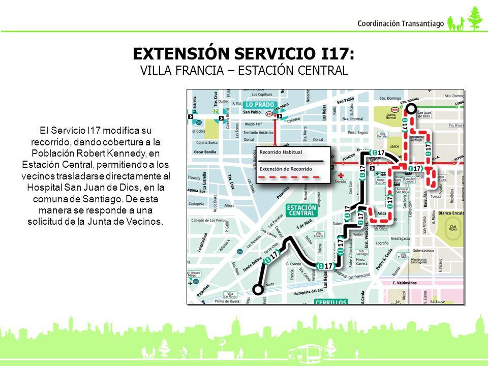 MODIFICACIÓN SERVICIO I18: SALVADOR ALLENDE – ULA Ajuste del servicio I18, que ahora dará cobertura al sector de Las Palmas en Cerrillos, pasando además por el eje Rinconada en Maipú, esto permitirá a los usuarios acceder directamente a la zona comercial de Estación Central, al Metro y al Consultorio N°5.