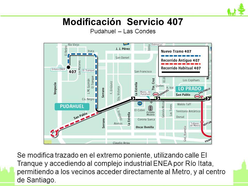 Se modifica trazado en el extremo poniente, utilizando calle El Tranque y accediendo al complejo industrial ENEA por Río Itata, permitiendo a los veci