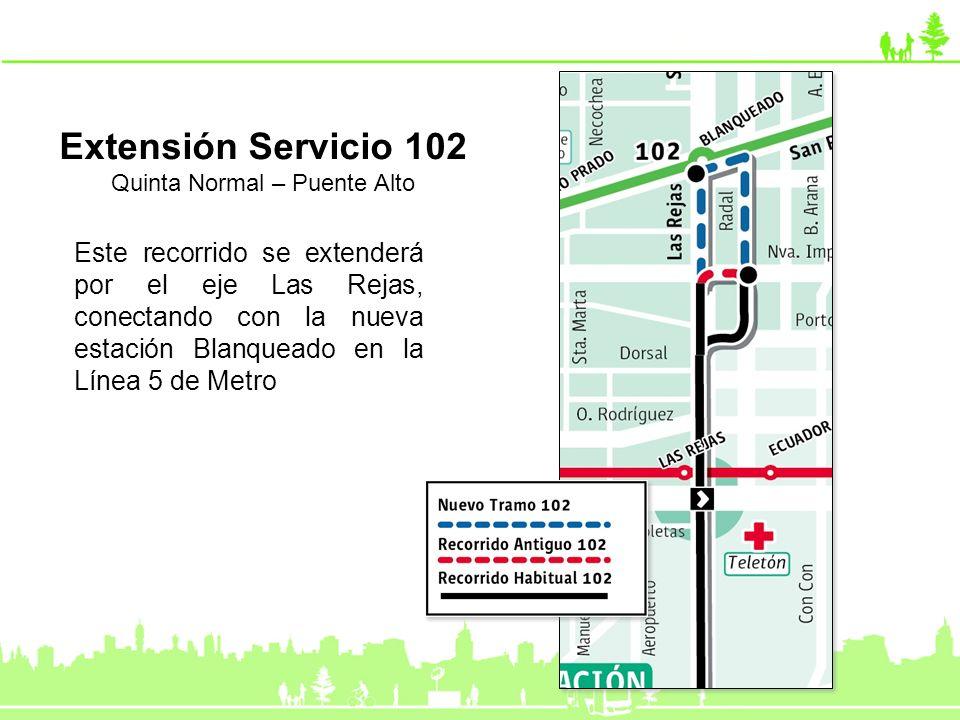 Este recorrido se extenderá por el eje Las Rejas, conectando con la nueva estación Blanqueado en la Línea 5 de Metro Extensión Servicio 102 Quinta Nor