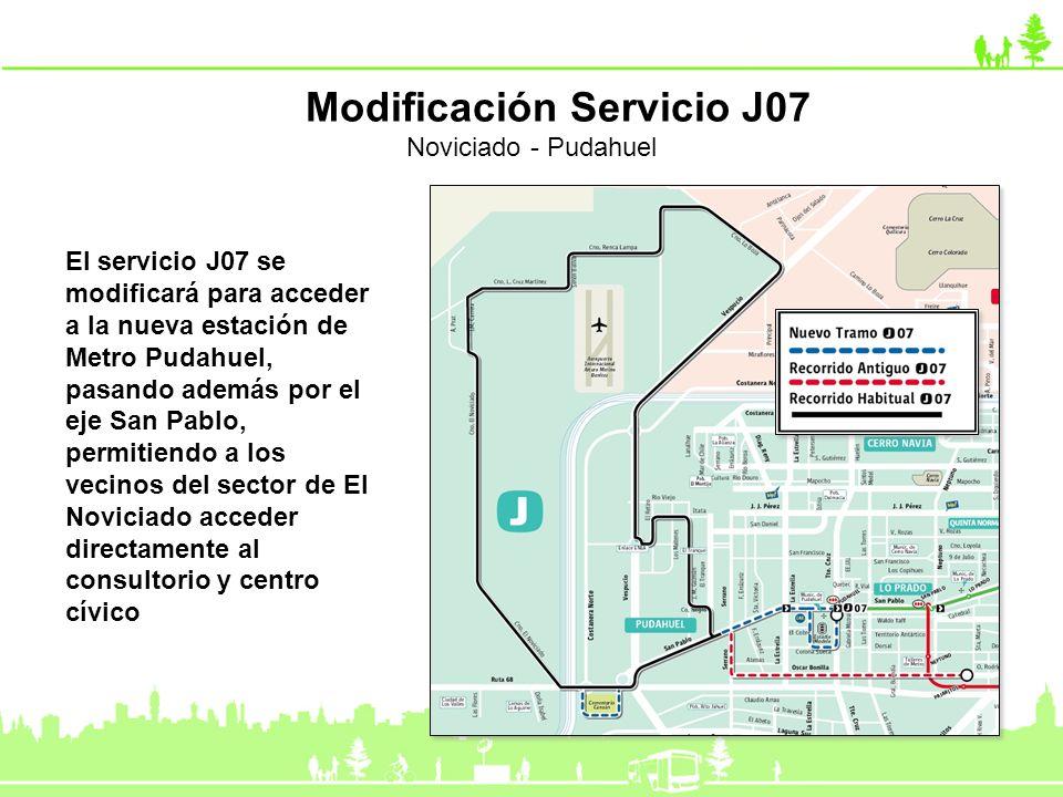 El servicio J07 se modificará para acceder a la nueva estación de Metro Pudahuel, pasando además por el eje San Pablo, permitiendo a los vecinos del s