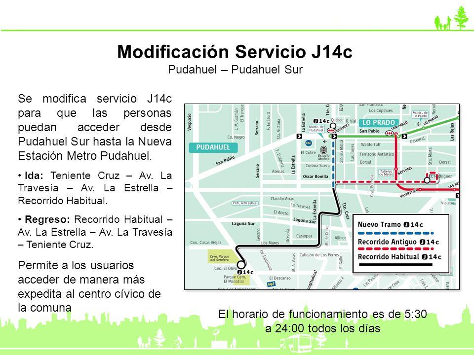 Se modifica servicio J14c para que las personas puedan acceder desde Pudahuel Sur hasta la Nueva Estación Metro Pudahuel. Ida: Teniente Cruz – Av. La