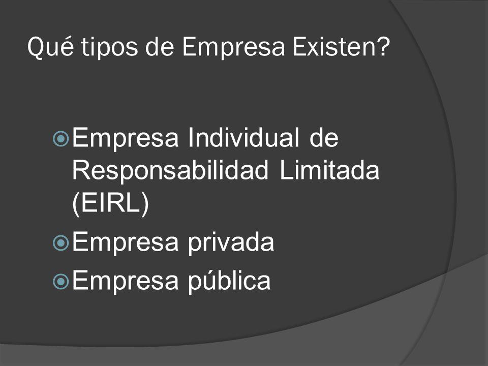 Qué tipos de Empresa Existen? Empresa Individual de Responsabilidad Limitada (EIRL) Empresa privada Empresa pública
