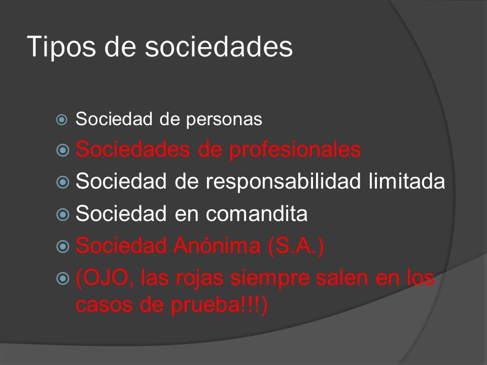 Tipos de sociedades Sociedad de personas Sociedades de profesionales Sociedad de responsabilidad limitada Sociedad en comandita Sociedad Anónima (S.A.