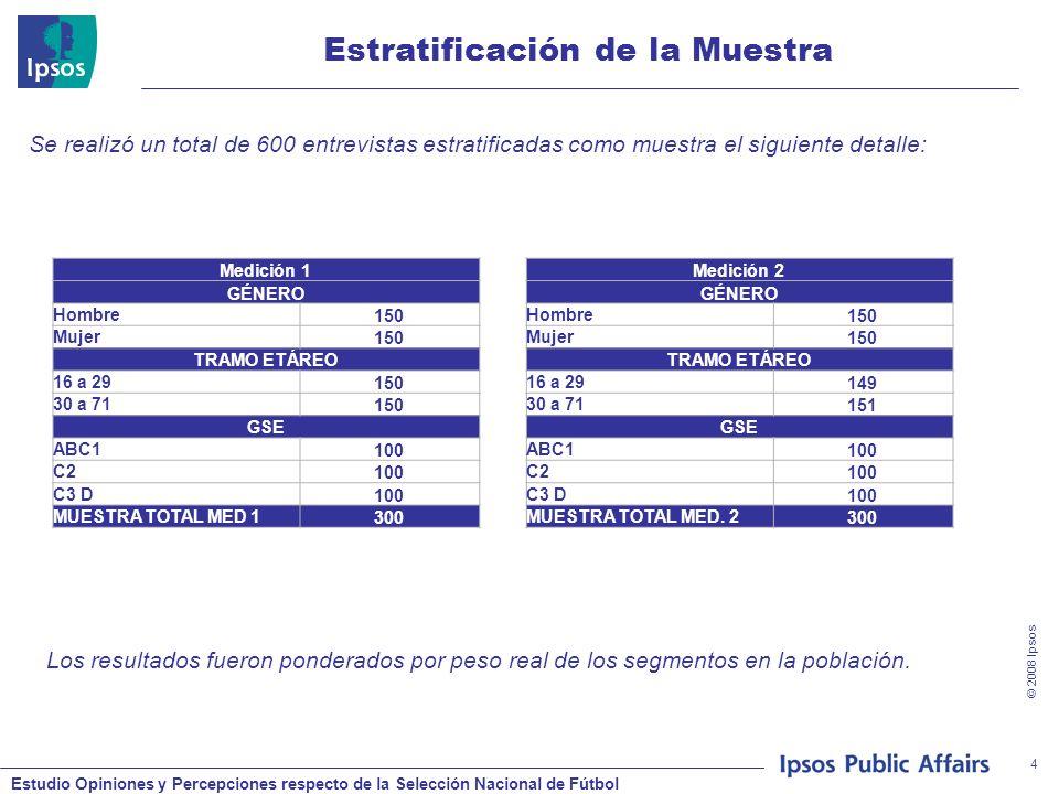 Estudio Opiniones y Percepciones respecto de la Selección Nacional de Fútbol © 2008 Ipsos 4 Estratificación de la Muestra Medición 1 GÉNERO Hombre 150