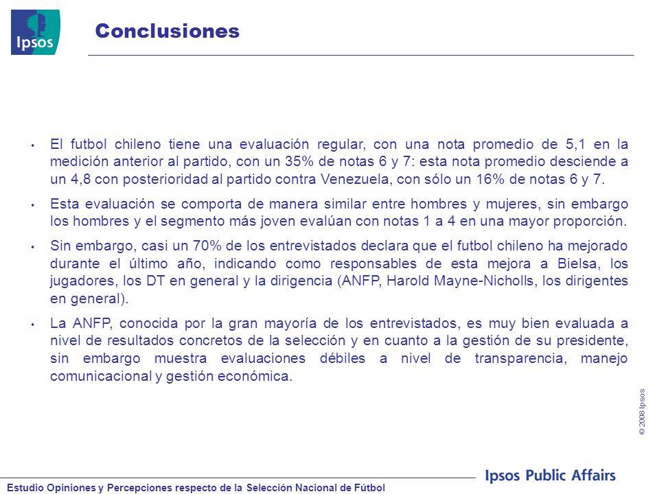 Estudio Opiniones y Percepciones respecto de la Selección Nacional de Fútbol © 2008 Ipsos Conclusiones El futbol chileno tiene una evaluación regular, con una nota promedio de 5,1 en la medición anterior al partido, con un 35% de notas 6 y 7: esta nota promedio desciende a un 4,8 con posterioridad al partido contra Venezuela, con sólo un 16% de notas 6 y 7.