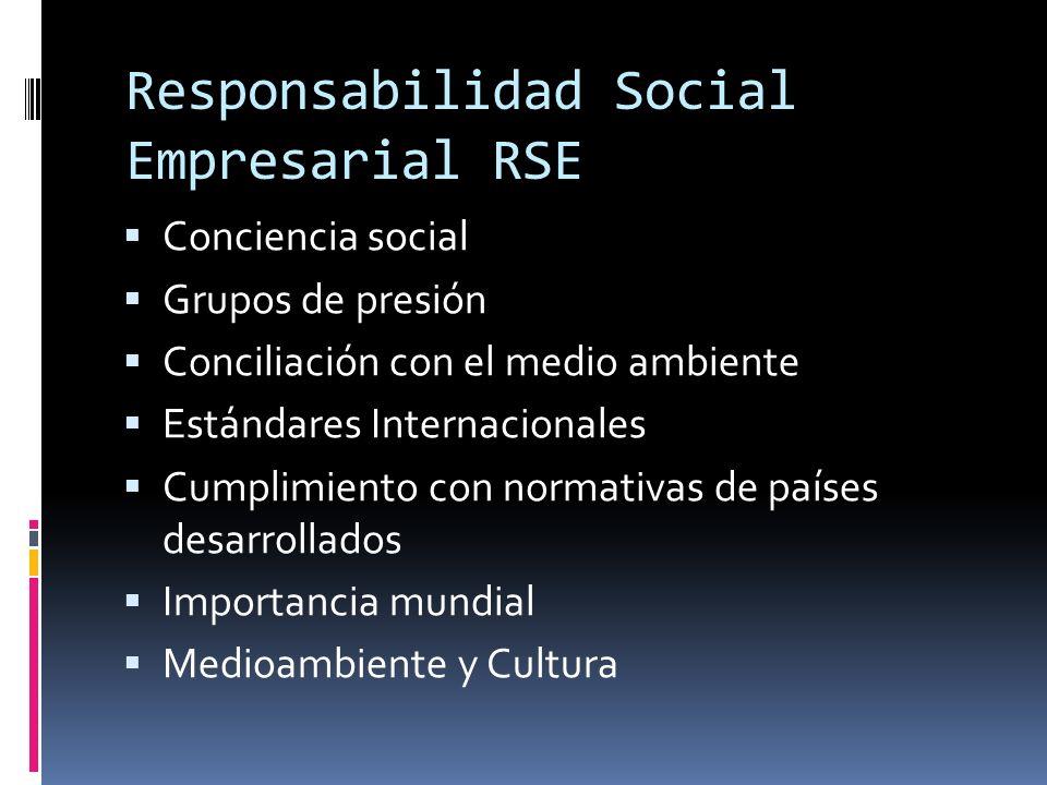 Responsabilidad Social Empresarial RSE Conciencia social Grupos de presión Conciliación con el medio ambiente Estándares Internacionales Cumplimiento