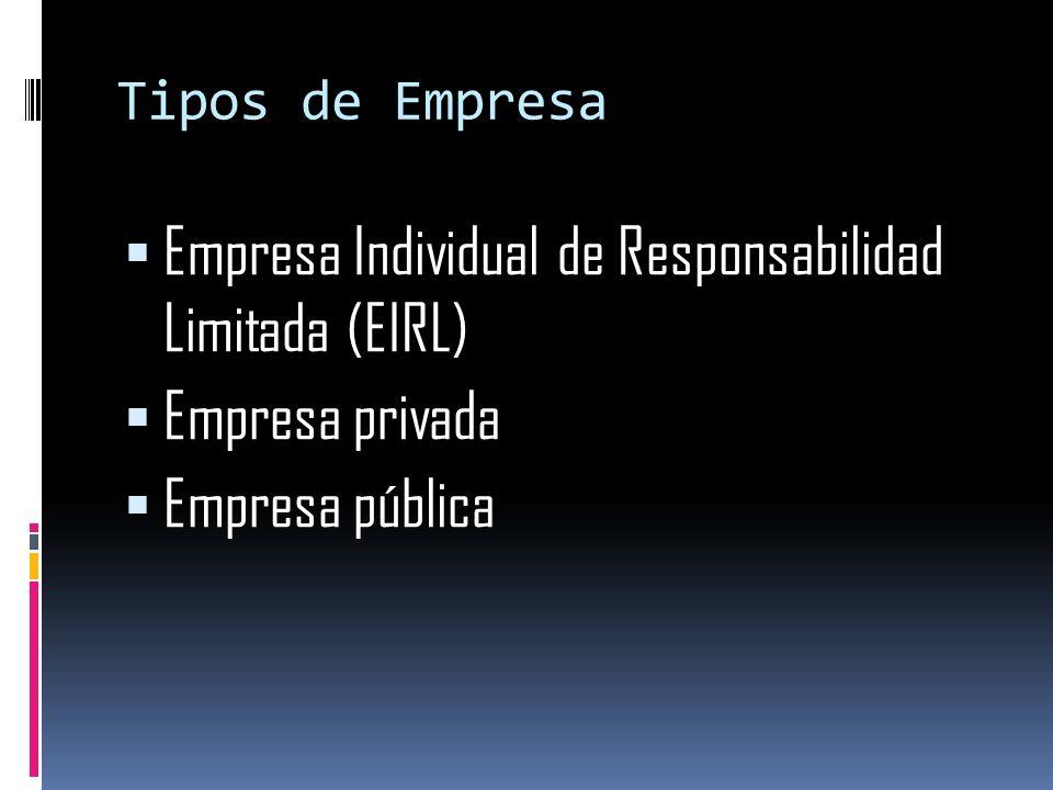 Tipos de Empresa Empresa Individual de Responsabilidad Limitada (EIRL) Empresa privada Empresa pública