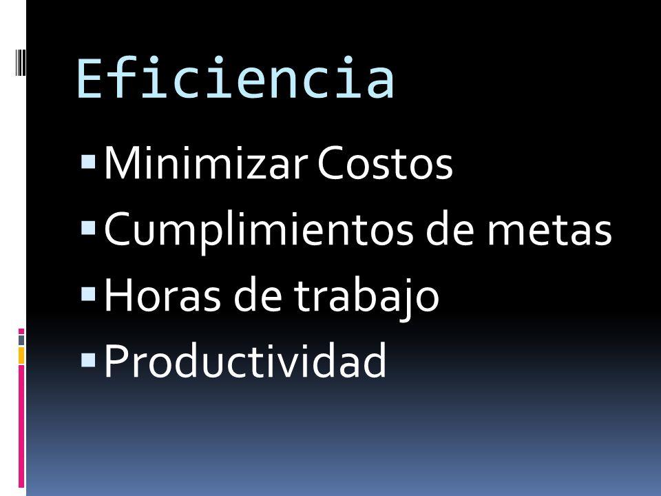 Eficiencia Minimizar Costos Cumplimientos de metas Horas de trabajo Productividad