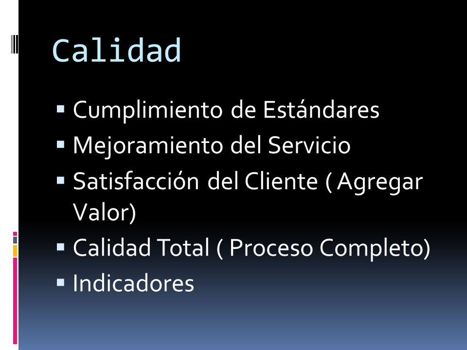 Calidad Cumplimiento de Estándares Mejoramiento del Servicio Satisfacción del Cliente ( Agregar Valor) Calidad Total ( Proceso Completo) Indicadores