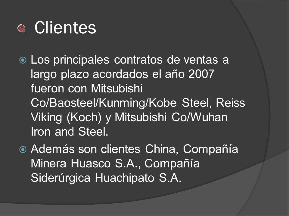 Clientes Los principales contratos de ventas a largo plazo acordados el año 2007 fueron con Mitsubishi Co/Baosteel/Kunming/Kobe Steel, Reiss Viking (K