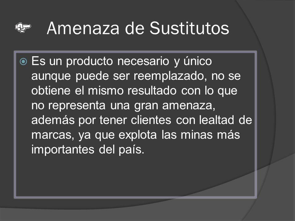 Amenaza de Sustitutos Es un producto necesario y único aunque puede ser reemplazado, no se obtiene el mismo resultado con lo que no representa una gra