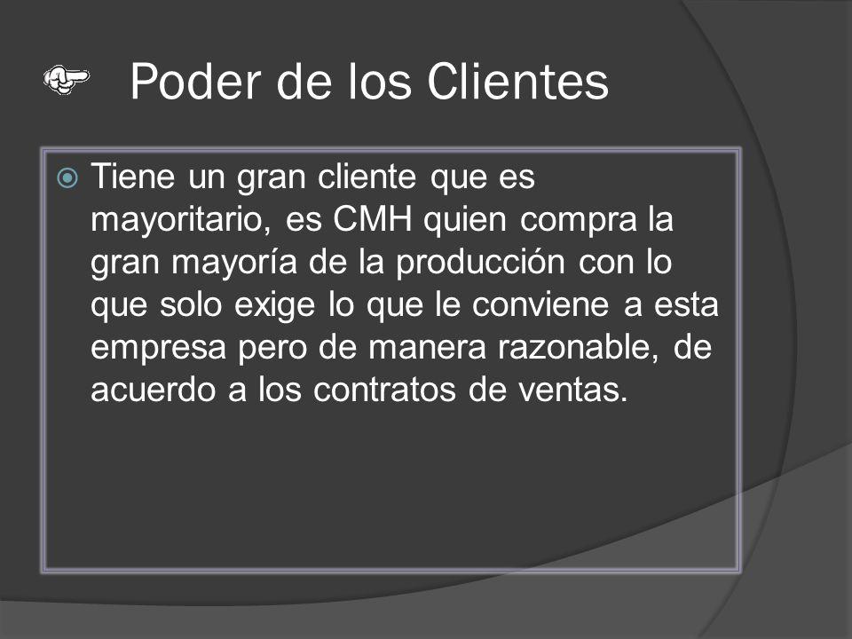 Poder de los Clientes Tiene un gran cliente que es mayoritario, es CMH quien compra la gran mayoría de la producción con lo que solo exige lo que le c