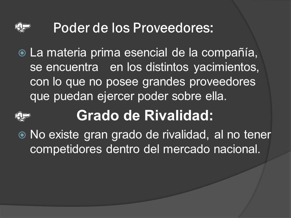 Poder de los Proveedores: La materia prima esencial de la compañía, se encuentra en los distintos yacimientos, con lo que no posee grandes proveedores