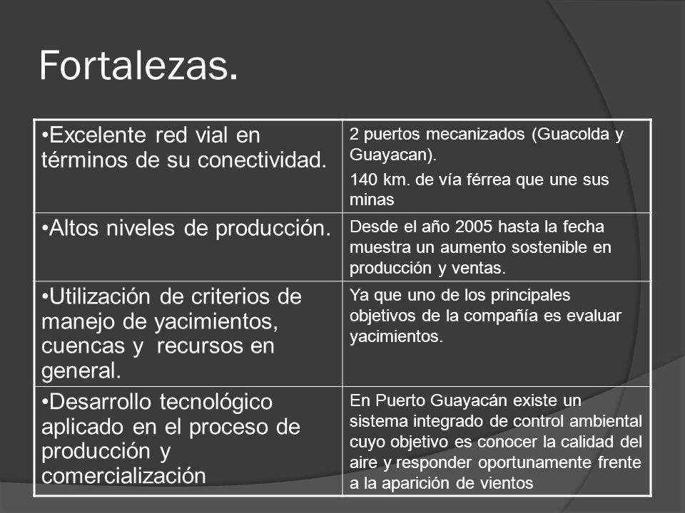 Fortalezas. Excelente red vial en términos de su conectividad. 2 puertos mecanizados (Guacolda y Guayacan). 140 km. de vía férrea que une sus minas Al