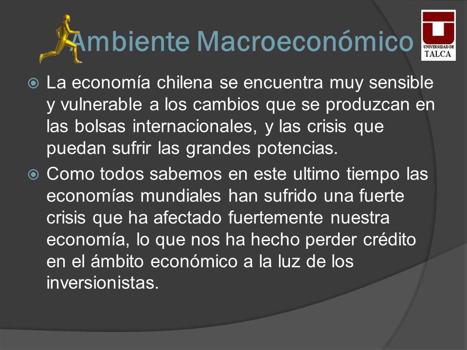Ambiente Macroeconómico La economía chilena se encuentra muy sensible y vulnerable a los cambios que se produzcan en las bolsas internacionales, y las