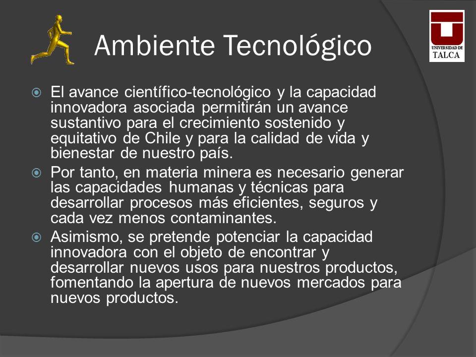 Ambiente Tecnológico El avance científico-tecnológico y la capacidad innovadora asociada permitirán un avance sustantivo para el crecimiento sostenido