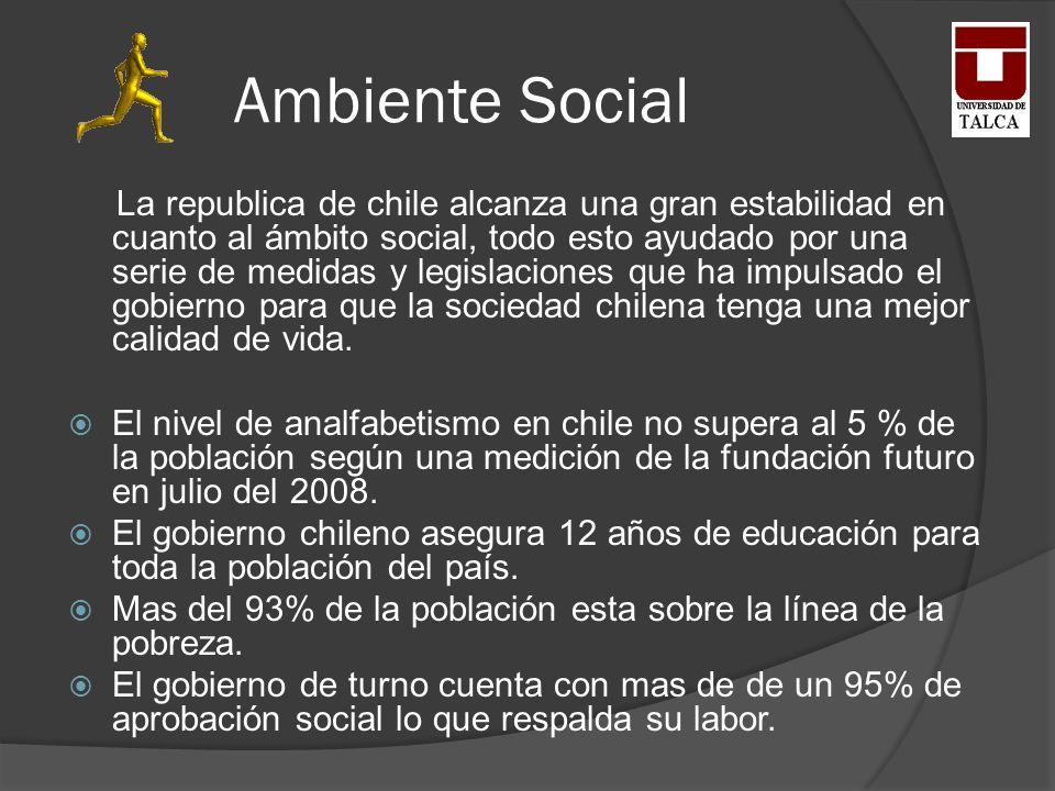 Ambiente Social La republica de chile alcanza una gran estabilidad en cuanto al ámbito social, todo esto ayudado por una serie de medidas y legislacio