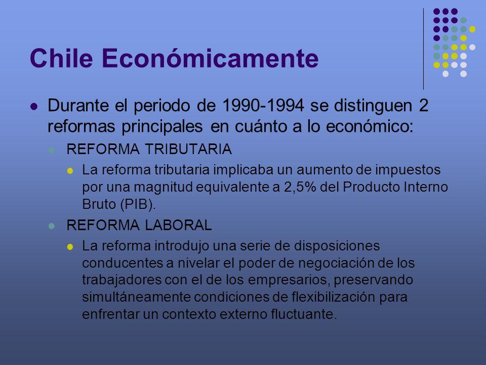 Chile Económicamente Durante el periodo de 1990-1994 se distinguen 2 reformas principales en cuánto a lo económico: REFORMA TRIBUTARIA La reforma trib