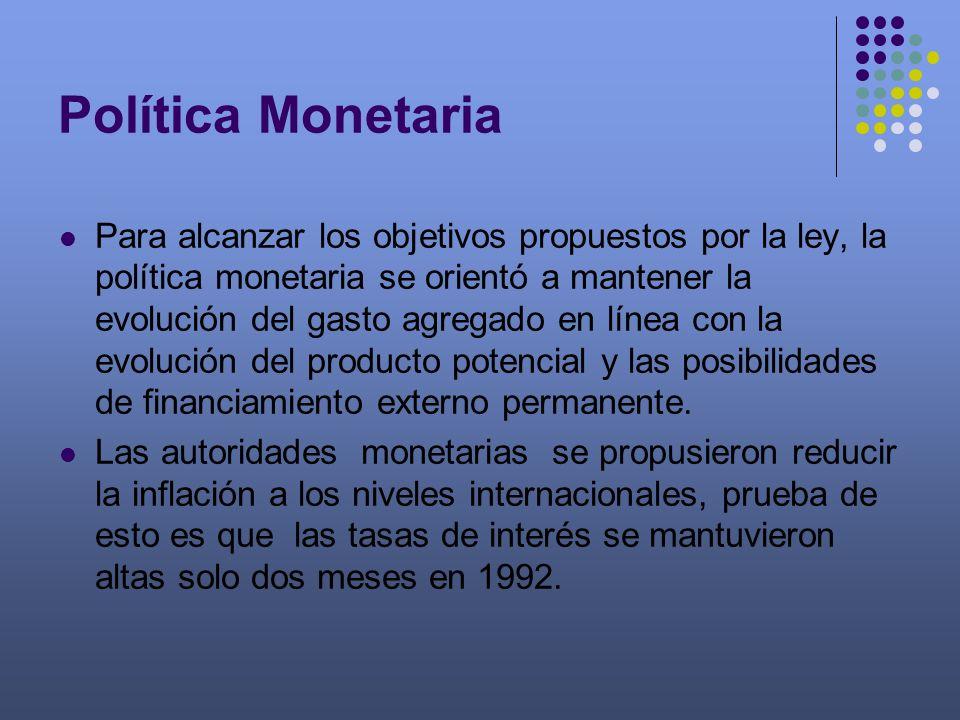 Política Monetaria Para alcanzar los objetivos propuestos por la ley, la política monetaria se orientó a mantener la evolución del gasto agregado en l