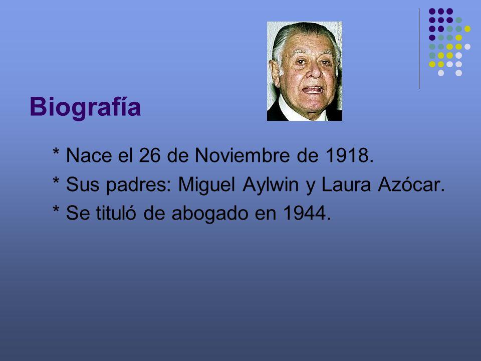 Biografía * Nace el 26 de Noviembre de 1918. * Sus padres: Miguel Aylwin y Laura Azócar. * Se tituló de abogado en 1944.