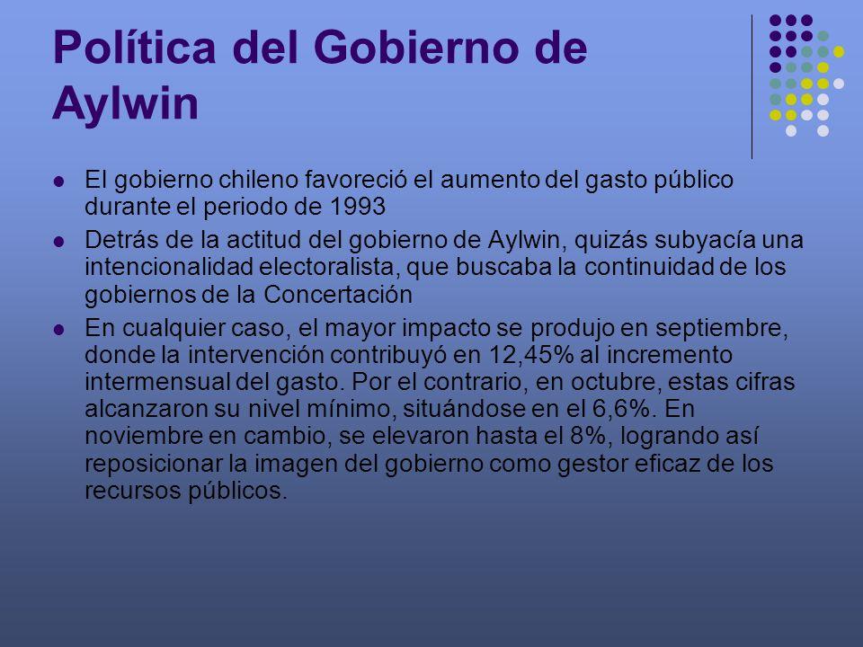 Política del Gobierno de Aylwin El gobierno chileno favoreció el aumento del gasto público durante el periodo de 1993 Detrás de la actitud del gobiern