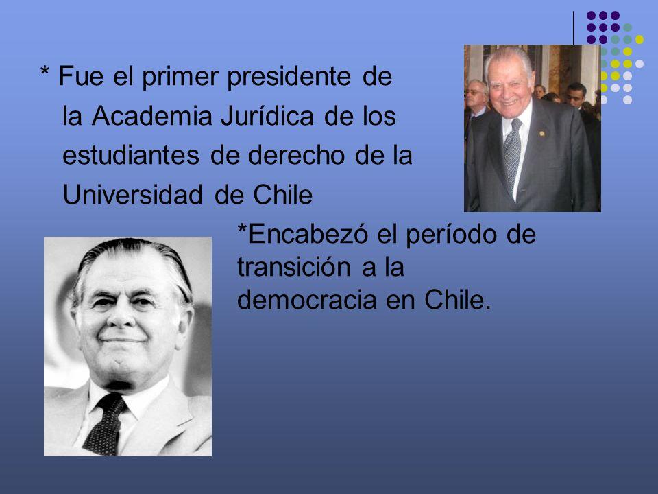 Carrera Política * En 1945 ingreso a la Falange Nacional * En 1957 fue miembro fundador del PDC * En 1969 encabezo la delegación chilena que asistió a la Asamblea General de la ONU * En 1971 fue elegido presidente del Senado * Enfrentado al gobierno de Allende lidero la oposición.
