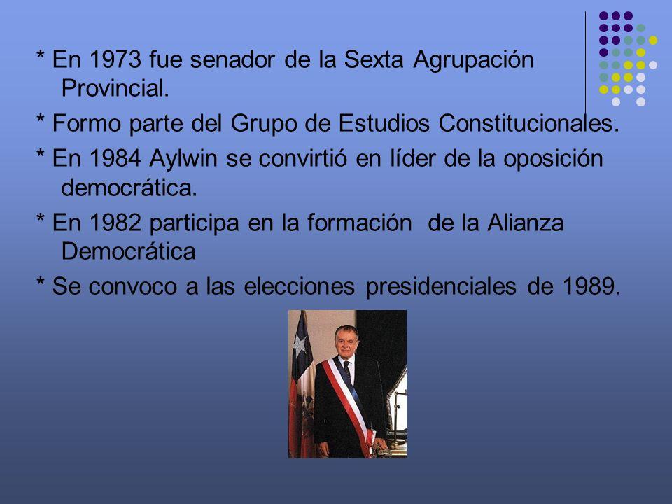 * En 1973 fue senador de la Sexta Agrupación Provincial. * Formo parte del Grupo de Estudios Constitucionales. * En 1984 Aylwin se convirtió en líder