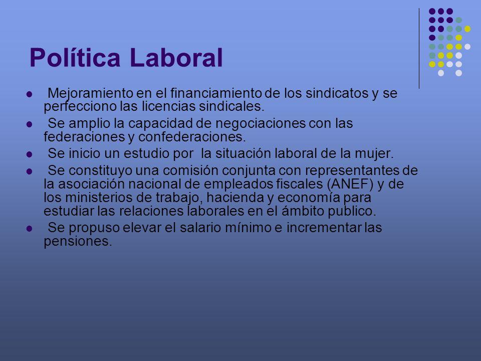 Mejoramiento en el financiamiento de los sindicatos y se perfecciono las licencias sindicales. Se amplio la capacidad de negociaciones con las federac