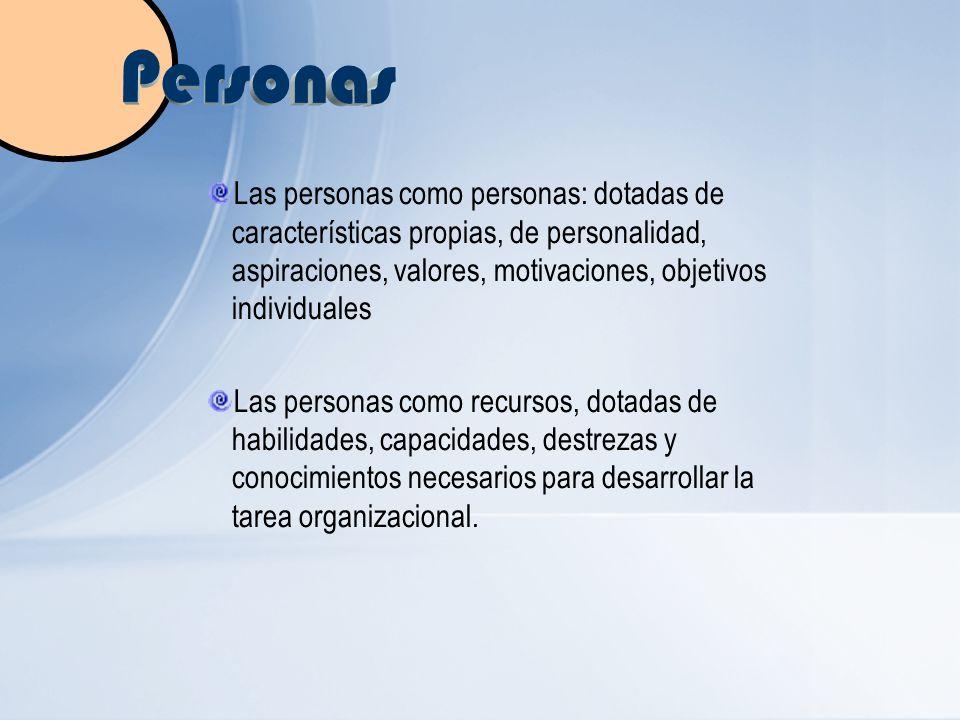 Las personas como personas: dotadas de características propias, de personalidad, aspiraciones, valores, motivaciones, objetivos individuales Las perso