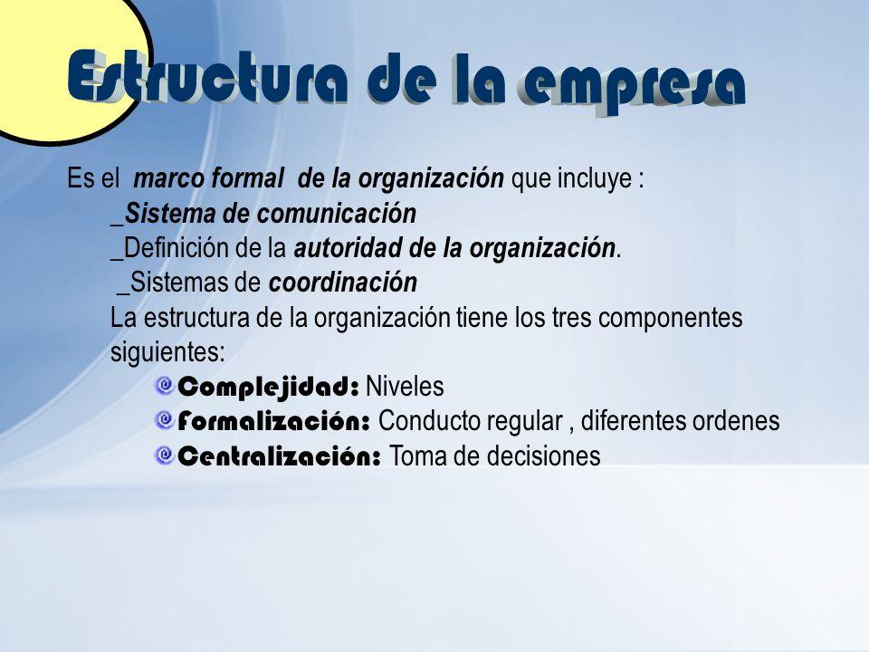 Es el marco formal de la organización que incluye : _Sistema de comunicación _Definición de la autoridad de la organización. _Sistemas de coordinación