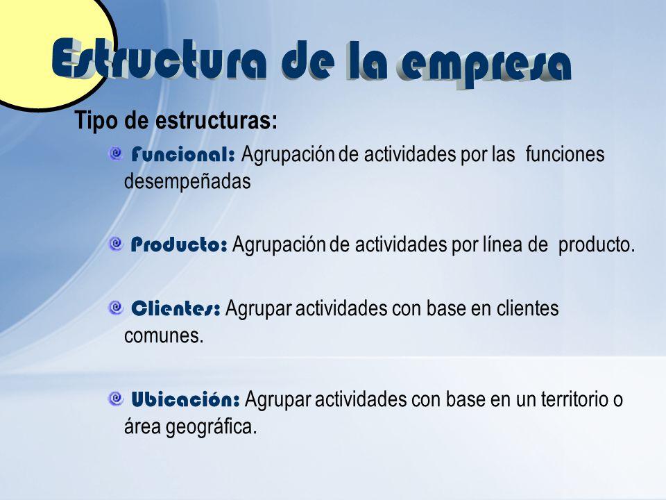 Tipo de estructuras: Funcional: Agrupación de actividades por las funciones desempeñadas Producto: Agrupación de actividades por línea de producto. Cl