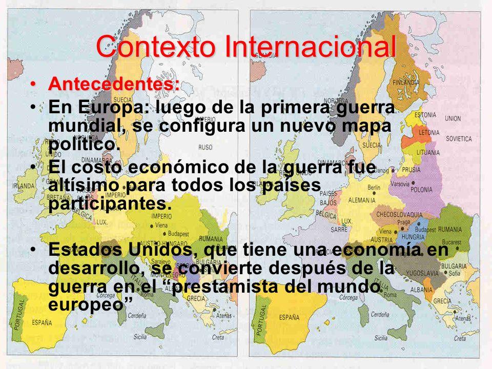 Contexto Internacional Antecedentes:Antecedentes: En Europa: luego de la primera guerra mundial, se configura un nuevo mapa político. El costo económi