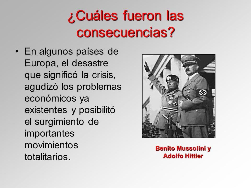¿Cuáles fueron las consecuencias? En algunos países de Europa, el desastre que significó la crisis, agudizó los problemas económicos ya existentes y p