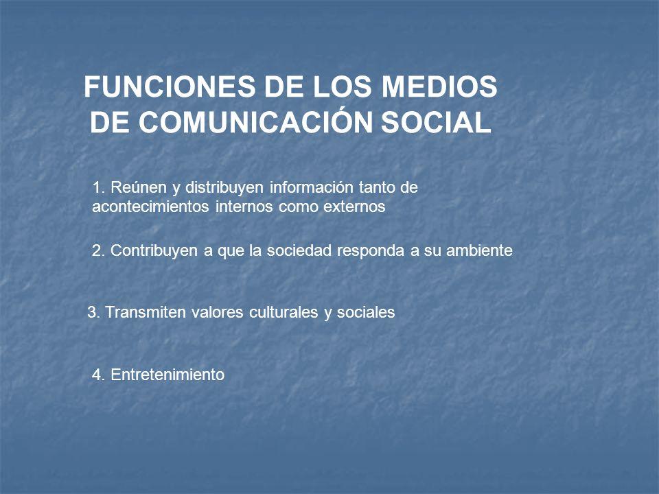 FUNCIONES DE LOS MEDIOS DE COMUNICACIÓN SOCIAL 1. Reúnen y distribuyen información tanto de acontecimientos internos como externos 2. Contribuyen a qu