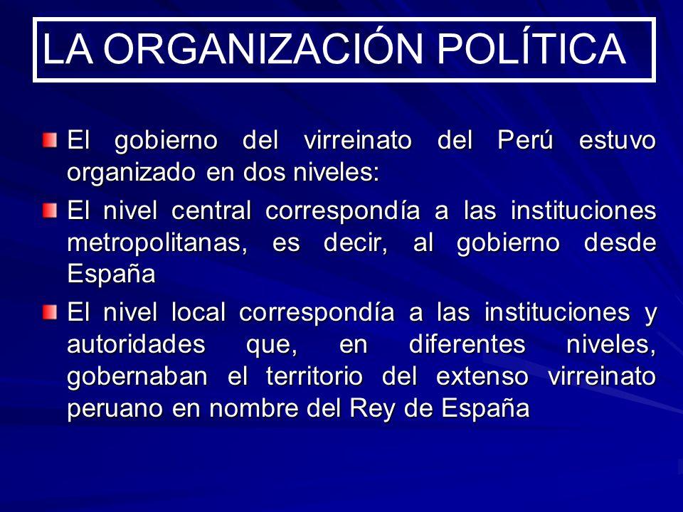El gobierno del virreinato del Perú estuvo organizado en dos niveles: El nivel central correspondía a las instituciones metropolitanas, es decir, al g