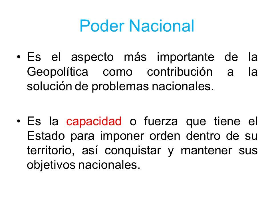 Poder Nacional Es el aspecto más importante de la Geopolítica como contribución a la solución de problemas nacionales. Es la capacidad o fuerza que ti