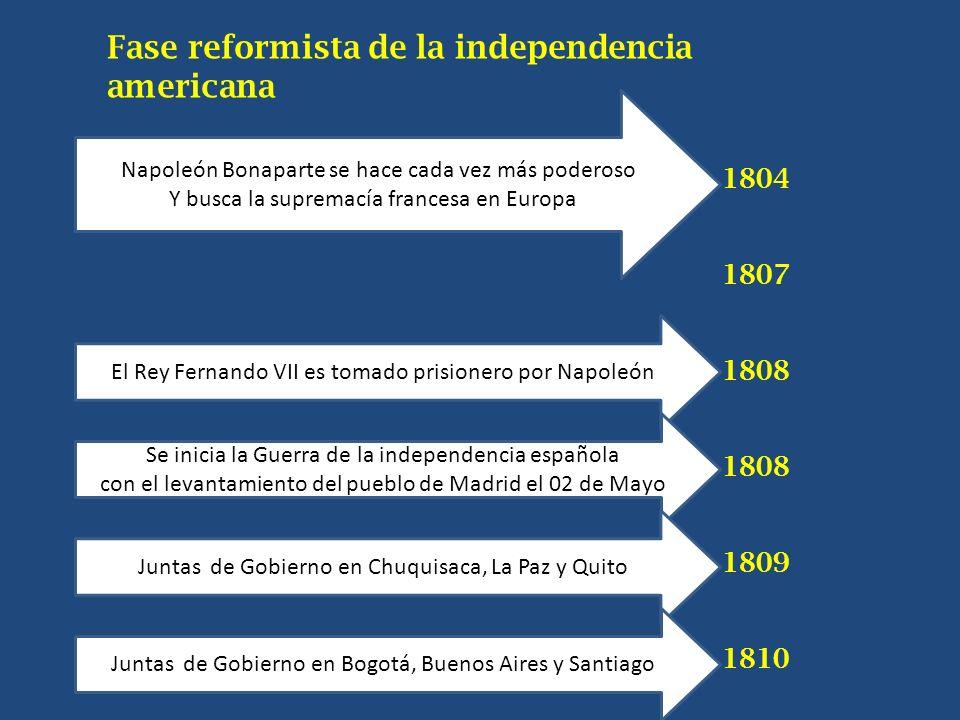 Fase reformista de la independencia americana 1804 1807 1808 1809 1810 1Napoleón Bonaparte se hace cada vez más poderoso Y busca la supremacía frances