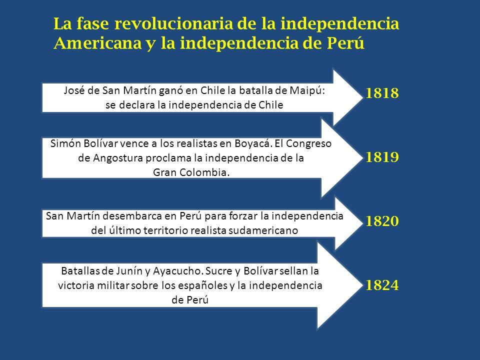 La fase revolucionaria de la independencia Americana y la independencia de Perú 1818 1819 1820 1824 José de San Martín ganó en Chile la batalla de Mai