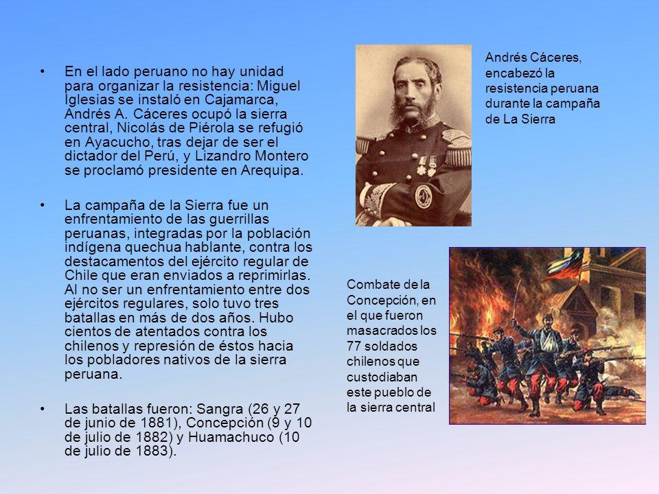En el lado peruano no hay unidad para organizar la resistencia: Miguel Iglesias se instaló en Cajamarca, Andrés A. Cáceres ocupó la sierra central, Ni