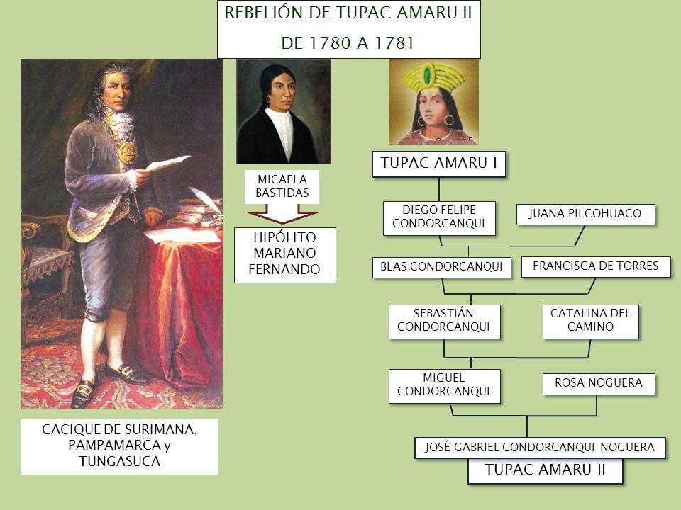 TUPAC AMARU II JOSÉ GABRIEL CONDORCANQUI NOGUERA DIEGO FELIPE CONDORCANQUI JUANA PILCOHUACO BLAS CONDORCANQUI FRANCISCA DE TORRES SEBASTIÁN CONDORCANQ