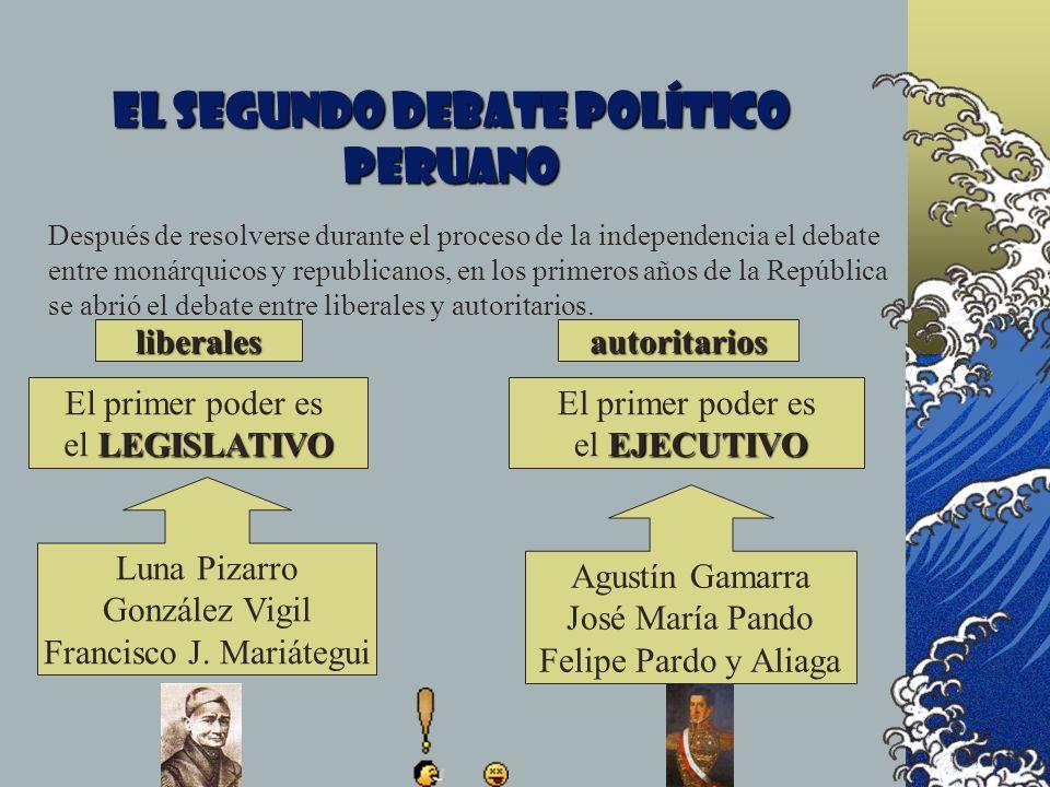 El segundo debate político peruano liberalesautoritarios El primer poder es LEGISLATIVO el LEGISLATIVO El primer poder es EJECUTIVO el EJECUTIVO Despu