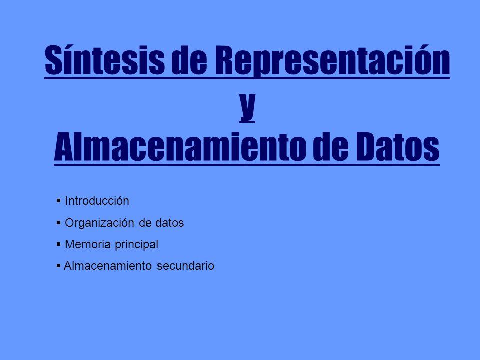 Síntesis de Representación y Almacenamiento de Datos Introducción Organización de datos Memoria principal Almacenamiento secundario