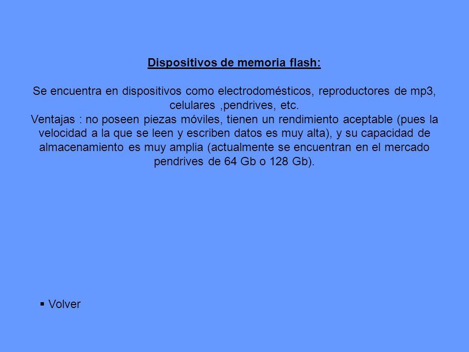 Dispositivos de memoria flash: Se encuentra en dispositivos como electrodomésticos, reproductores de mp3, celulares,pendrives, etc. Ventajas : no pose