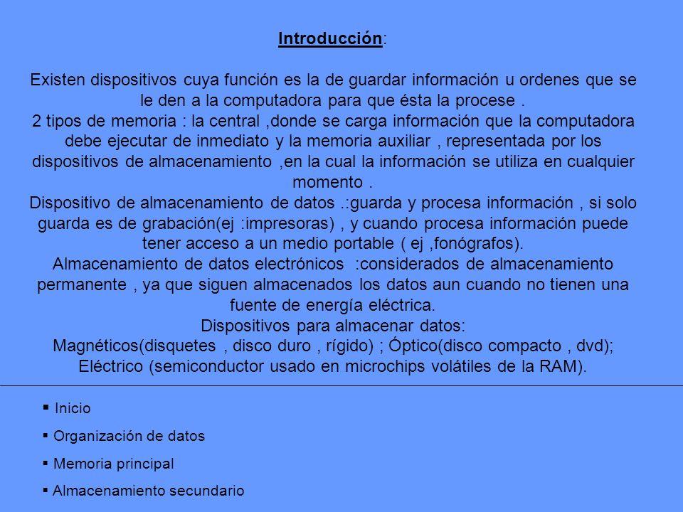 Introducción: Existen dispositivos cuya función es la de guardar información u ordenes que se le den a la computadora para que ésta la procese. 2 tipo