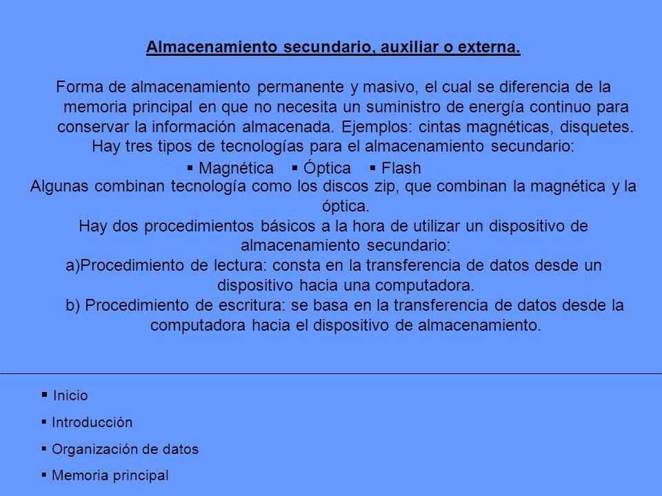 Almacenamiento secundario, auxiliar o externa. Forma de almacenamiento permanente y masivo, el cual se diferencia de la memoria principal en que no ne
