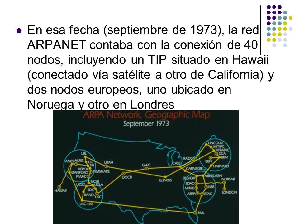 En esa fecha (septiembre de 1973), la red ARPANET contaba con la conexión de 40 nodos, incluyendo un TIP situado en Hawaii (conectado vía satélite a o