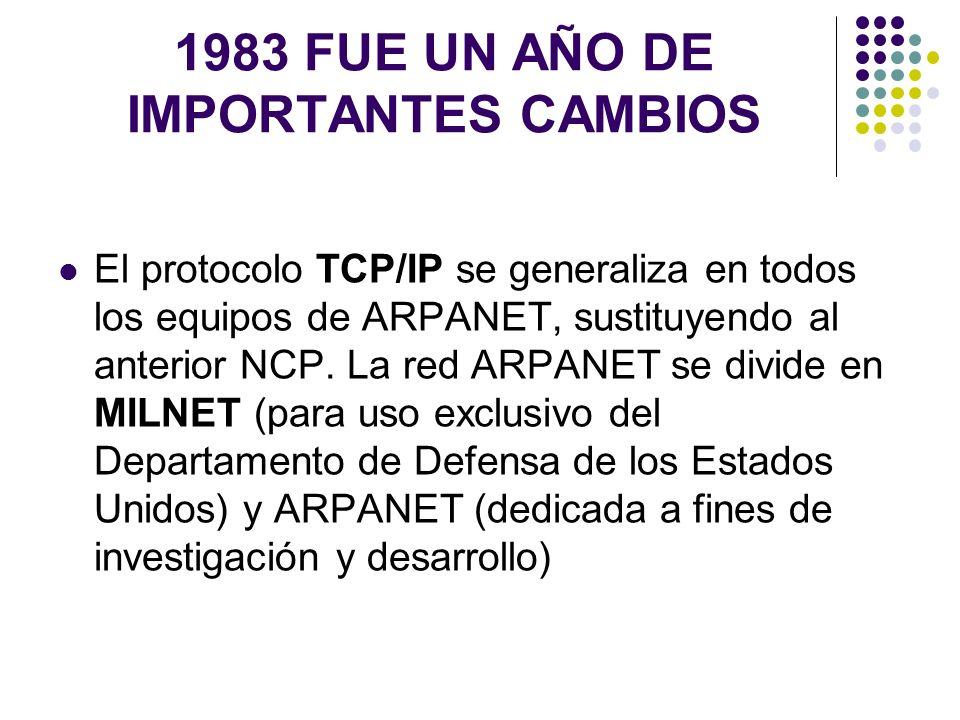 1983 FUE UN AÑO DE IMPORTANTES CAMBIOS El protocolo TCP/IP se generaliza en todos los equipos de ARPANET, sustituyendo al anterior NCP. La red ARPANET