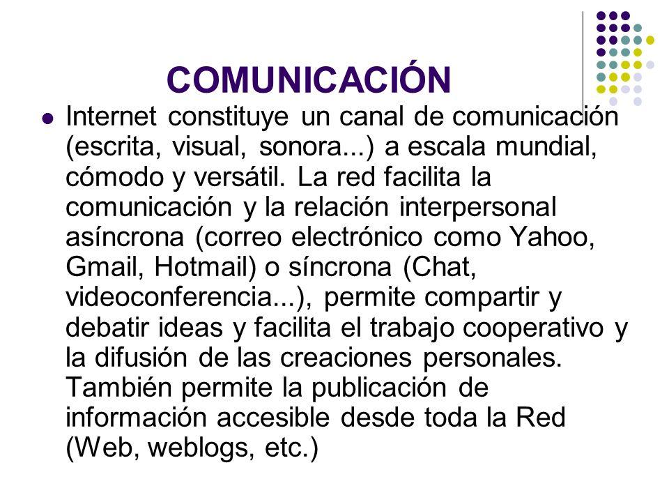 COMUNICACIÓN Internet constituye un canal de comunicación (escrita, visual, sonora...) a escala mundial, cómodo y versátil. La red facilita la comunic