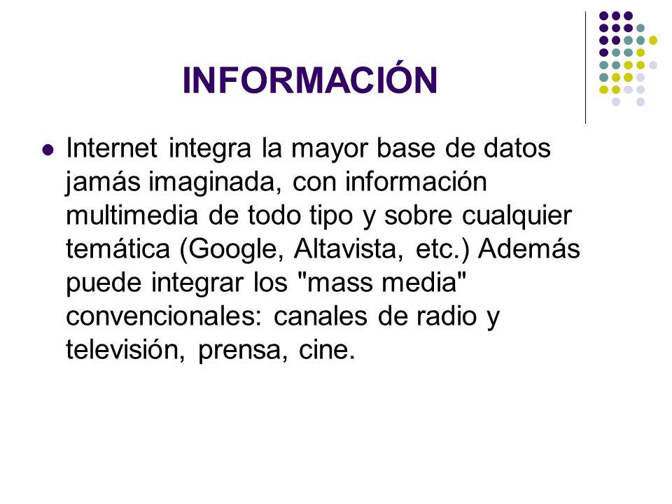 INFORMACIÓN Internet integra la mayor base de datos jamás imaginada, con información multimedia de todo tipo y sobre cualquier temática (Google, Altav