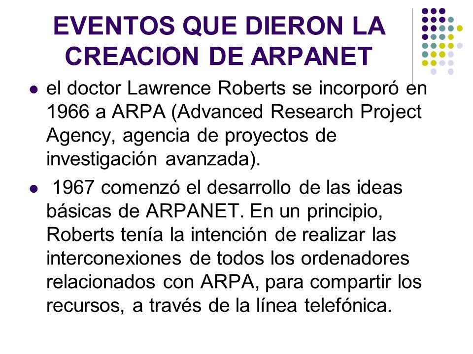 EVENTOS QUE DIERON LA CREACION DE ARPANET el doctor Lawrence Roberts se incorporó en 1966 a ARPA (Advanced Research Project Agency, agencia de proyect
